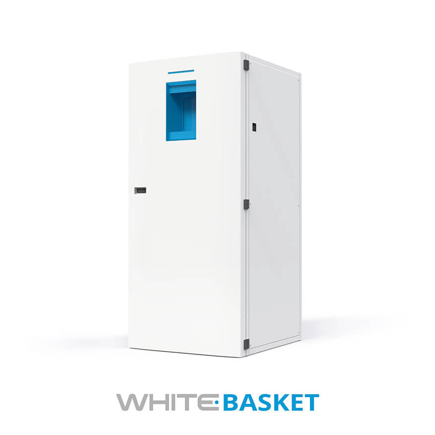 White Basket Garment Collector - ABG Systems - Product for Hospitals and Healtcare Structures in North America and Canada